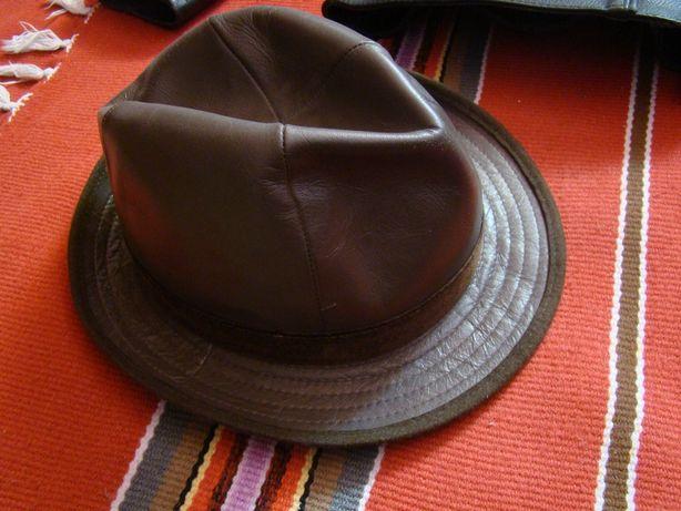 KAPELUSZ Skorzany Vintage/ Rozmiar 58cm