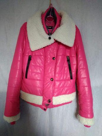 Куртка женская осень-зима розовая яркая стильная короткая размер 46-48
