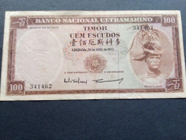 1 nota de 100$ 1963 TIMOR Régulo Aleixo Bela e rara