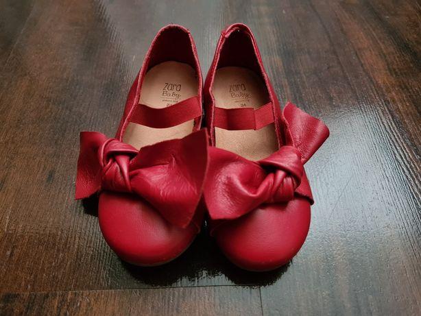 Balerinki buciki czerwone Zara r. 24 prześliczne  skórzane stan bdb