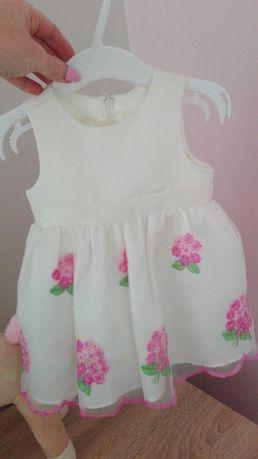 Sukienka chrzest, roczek 74 cm
