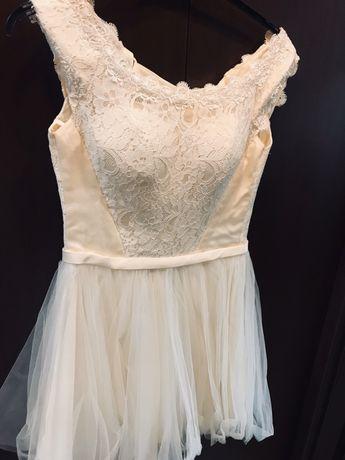 Przepiękna sukienka koktajlowa xs/s 34/36 tiul ślub wesele