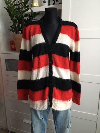 Diesel długi sweter kardigan czerwone pasy M
