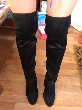 Сапоги ботфорты на каблуке