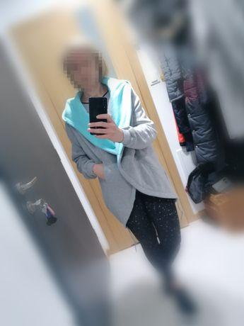 Bluza płaszcz szary z dresowki Miss Middle rozm M 38 over size nowy
