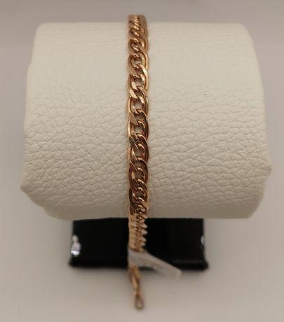 Piękna złota branzoleta, splot Monaliza. Nowa. Złoto pr. 585. Dł. 19cm