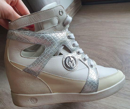 Sneakersy na koturnie trampki wysokie Armani Jeans r. 38