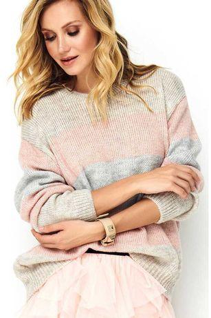 Mięciutki kolorowy sweter ściągaczem RÓŻ BEŻ SZARY