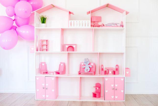 Кукольный домик 4 этажа Белый с розовым, дом для кукол