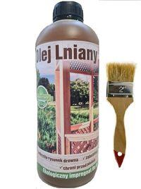 Olej lniany 100% naturalny impregnat do drewna 1 litr + GRATIS pędzel