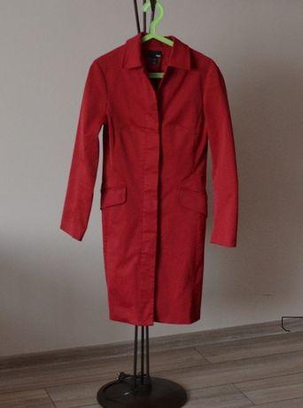 Płaszcz trencz czerwony malinowy H&M 34 XS
