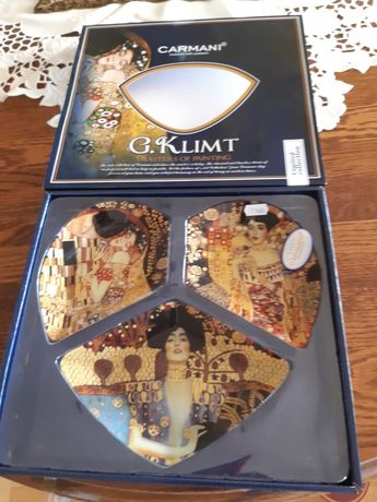 CARMANI talerz dekoracyjny serce - patera G.Klimt (3-cz.)