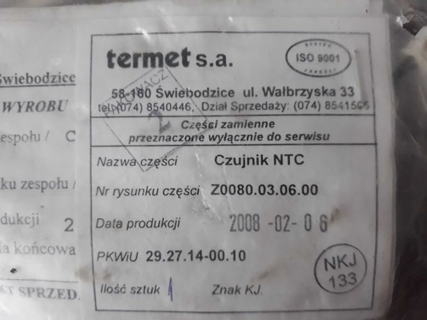 Czujnik temperatury wody NTC termet