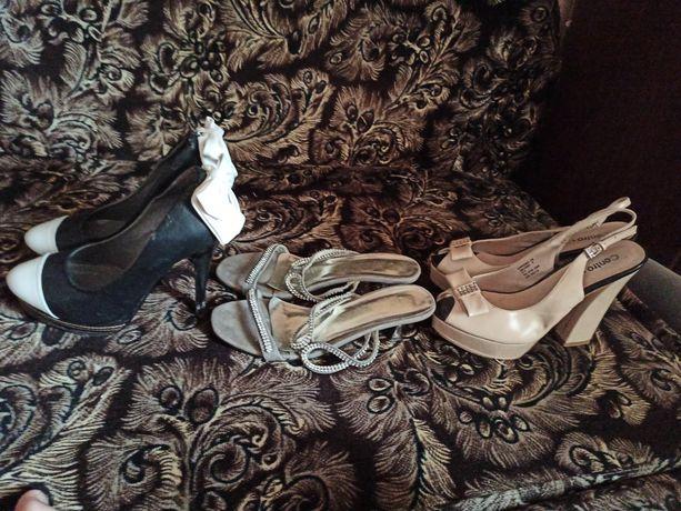 3 пары обуви туфли босоножки шлепки за 150 грн