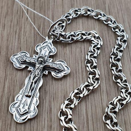Комплект!!! Серебряная цепочка и крестик. Кулон - хрестик и цепь. 925