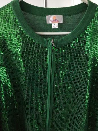 Sweter z cekinami XL zielony