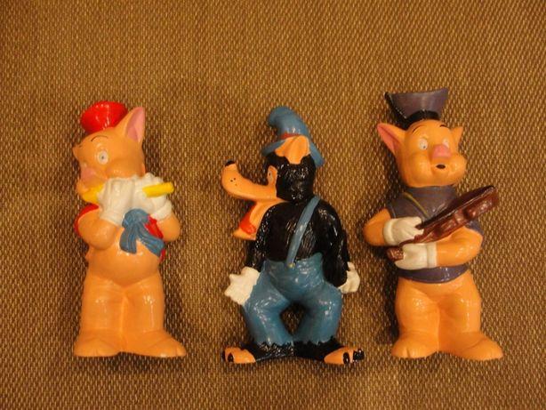 Antigas Figuras em Louça do Lobo Mau e 2 dos 3 Porquinhos 33cm Altura