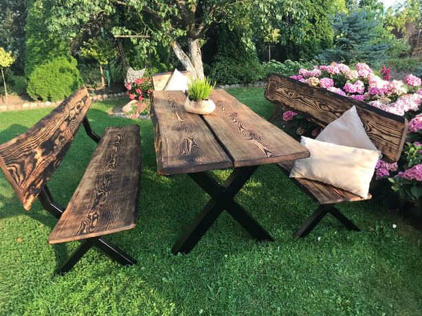 Meble ogrodowe drewniane stół 2 ławki retro industrialne deski opalane