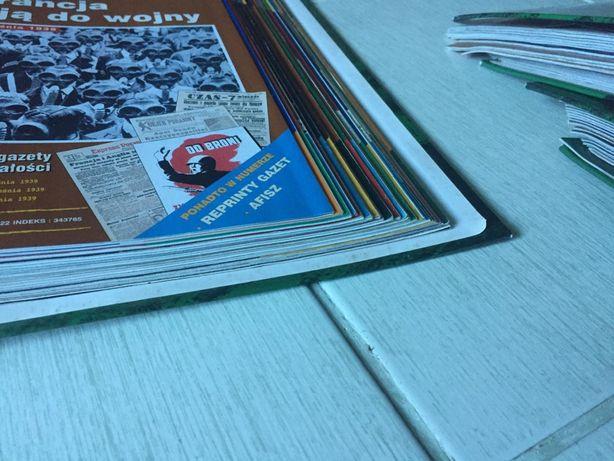 Komplet ciekawych historycznych gazet wojennych+plakaty+segregatory