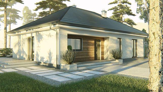 Projekt domu parterowego 108 m2, projekt typowy, gotowy