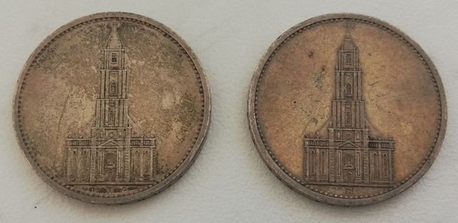 5 MAREK 1934/1935 A 5 Reichsmark Deutsches Reich srebro kościół garniz