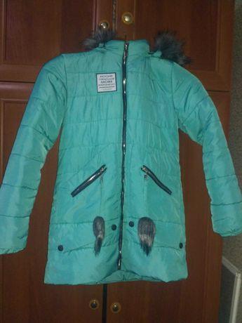 Курточка зимова бірюзового кольору на дівчинку