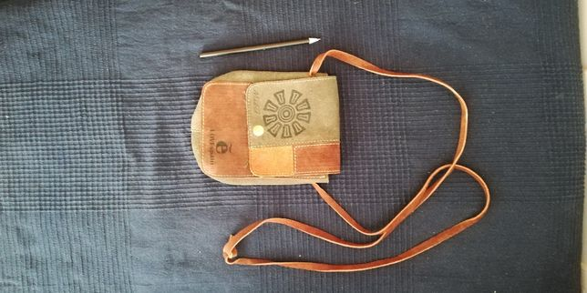 Bolsa Pequena Tiracolo Pele - tons de castanho