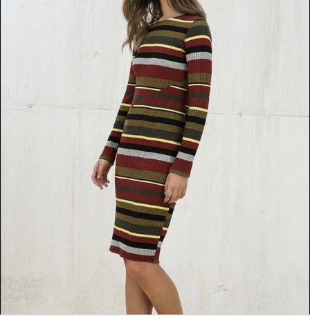 Платье плаття сукня бершка полосатое полоску в рубчик красное черное