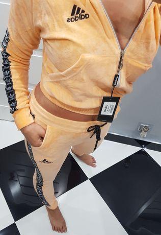 Piękny pastelowy dres welur damski Slim fit Adidas brzoskwinia S M L