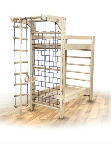 Шведская стенка (спортивный уголок) - двухъярусная кровать из дерева