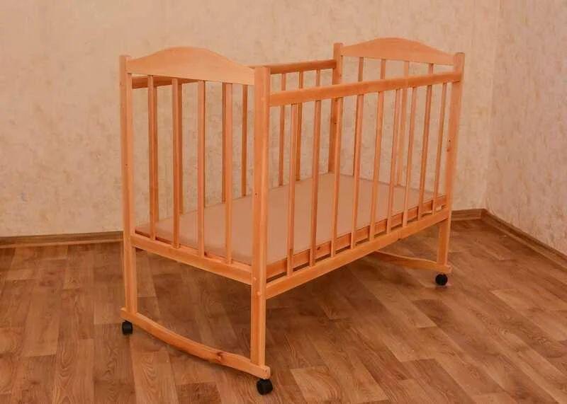 Детская Кроватка Качалка на Колесиках. Бортик опускается. Ольха. 91205 Киев - изображение 1