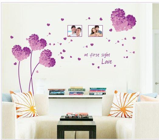 Наклейка на стену. 250 грн. Фиолетовые сердечки .Подарок