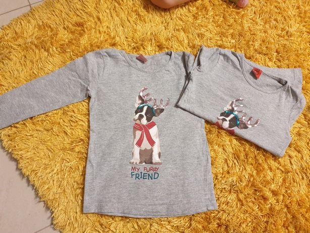 Bluzeczka z długim rękawkiem dla bliźniaczek koszulka