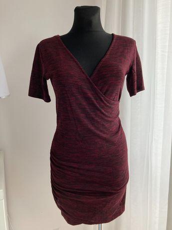 Sukienka STRADIVARIUS L bordowa mini dekolt w serek