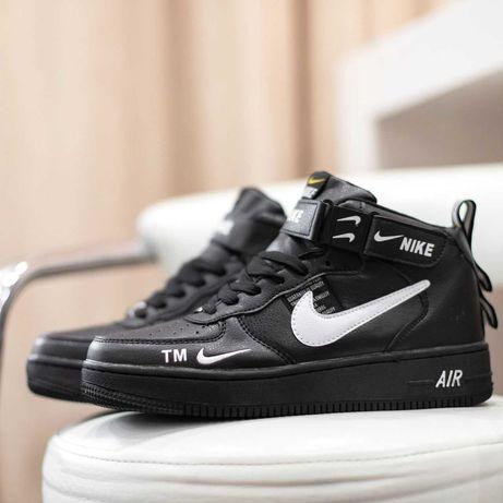 6097 Nike Air Force высокие черные с белым кроссовки найк аир форс мех