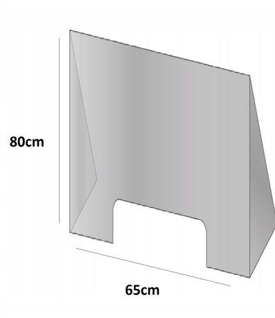 Osłona plexi 65x80cm stojaca na ladę kasę biurko