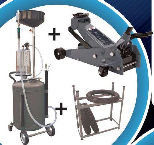 Aspirador óleos + macaco de rodas 3 ton com pedal + estante p/ pneus