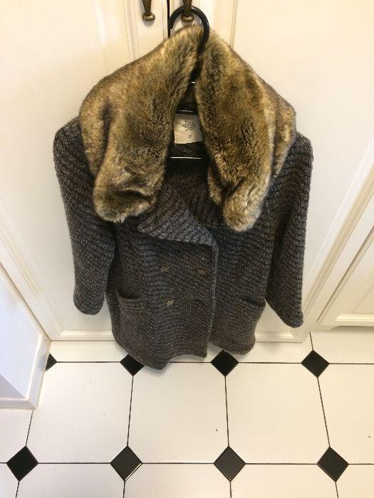Płaszcz sweter f. Zara r. S 36 stan idealny brąz beż camel futerko Kalisz - image 1