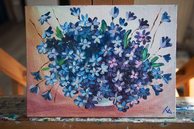 """Картина маслом """"Синие цветы"""" """"синеглазки"""" 25х15 см"""