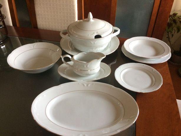 Serviço Louça Porcelana Bavaria Banhado Fio Ouro 24K