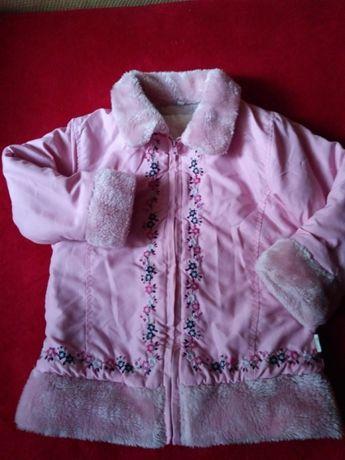 Długa kurtka - płaszczyk zimowy jasnoróżowy