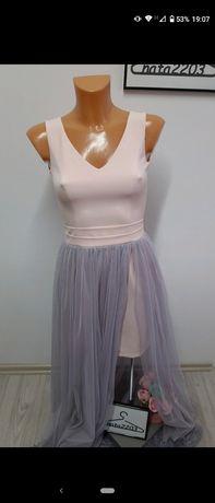 Pudrowy róż sukienka dopasowana puszczony szary tiul 34/XS