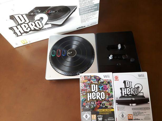 Wii - Jogo DJ Hero 1 e DJ Hero 2 + Mesa de Mistura / Controlador DJ