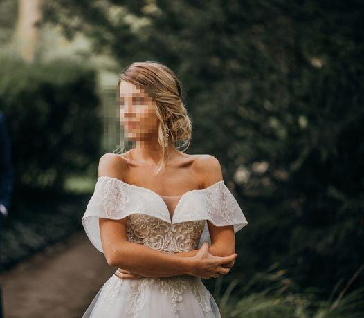 Suknia ślubna księżniczka r.34 w literę A