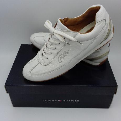 Кроссовки TOMMY HILFIGER р.41, женские белые кожаные кроссовки