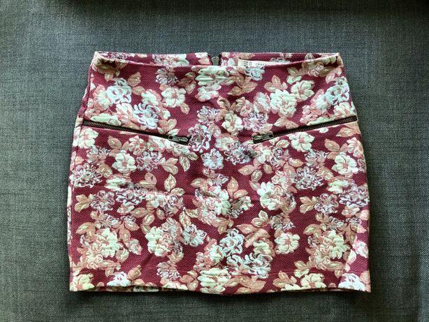 Spódnica kwiaty rustykalna folklor Zara XS krótka mini róż niebieska