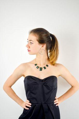 Черное мини платье бандо от mango
