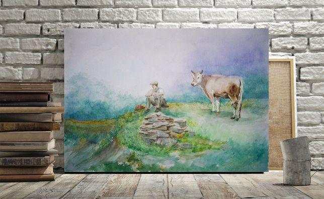 Obraz Akwarela Pejzaż Krowa Oryginał Ręcznie malowany