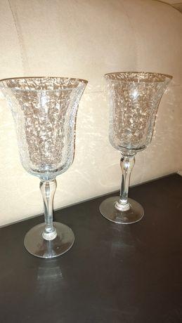 Świeczniki kielich szkło tłuczone