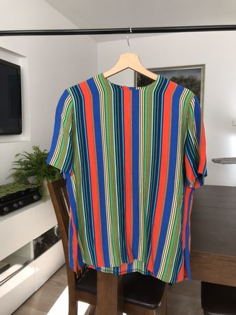 Koszulka damska T-shirt w kolorowe paski vintage rozmiar M 38